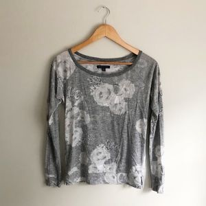 American Eagle Lightweight Floral Pullover Gray XS